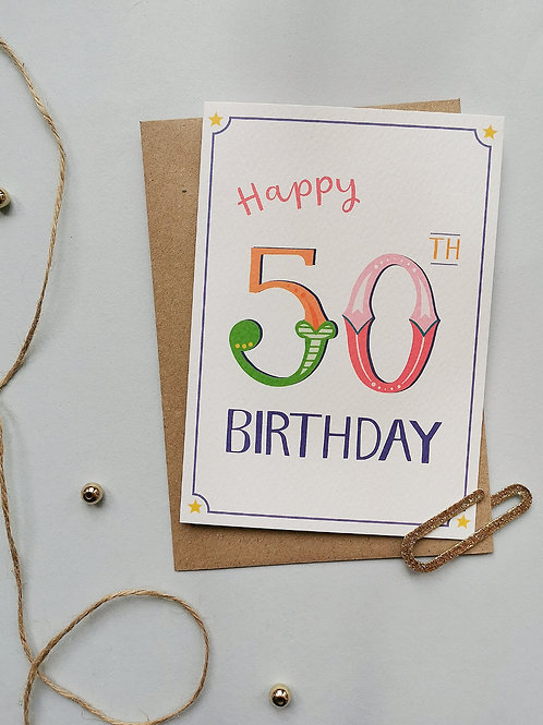 50th Birthday Card (Pack 6)