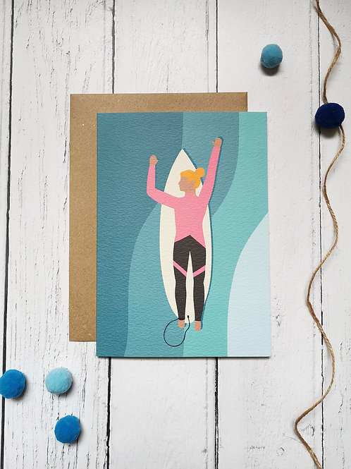 Surfing Birthday Card