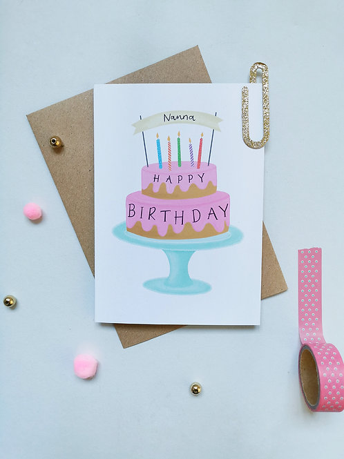Nanna Birthday Cake Card