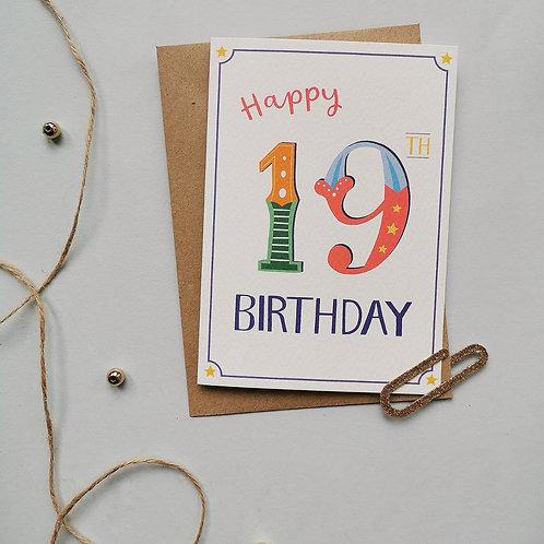 19th Birthday Card (Pack 6)