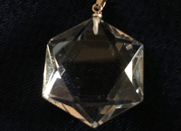水晶 ペンダントトップ 六芒星