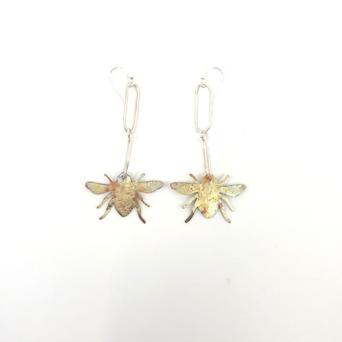 Blue banded bee earring