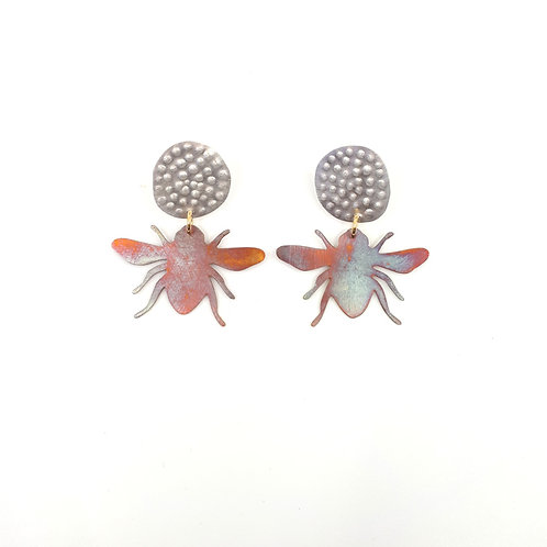 Blue banded bee studs