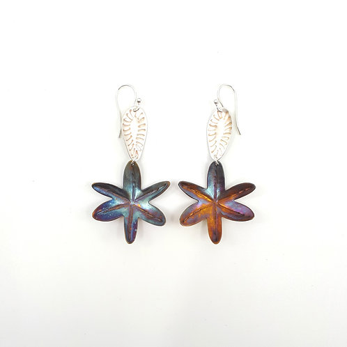 Yellow Rush Lily on sunset earrings