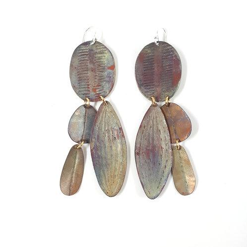 Flat-leaf Wattle, leaf and beetle wing earrings