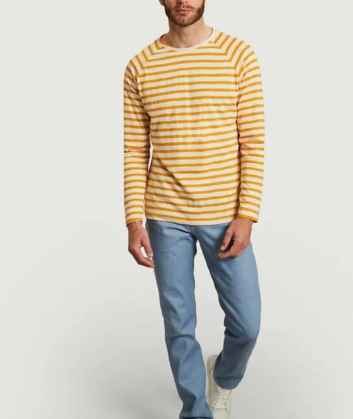 T-shirt - Nudie Jeans - Rayures bleu, jaune, noir