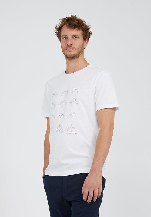 T-shirt - Armedangels - Blanc motifs montagnes