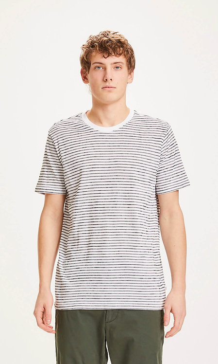 T-shirt - Knowledge - Blanc Rayure noir