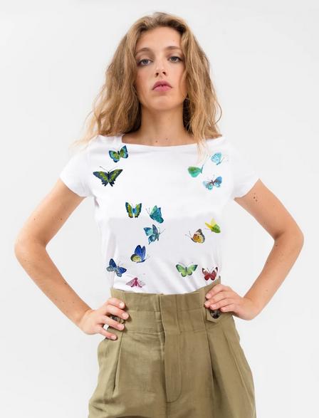 """T-shirt - Bleu Tango - Blanc, motif """"papillon"""""""