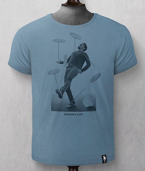 T-shirt  - Dirty Velvet - Bleu Assiette chinoise