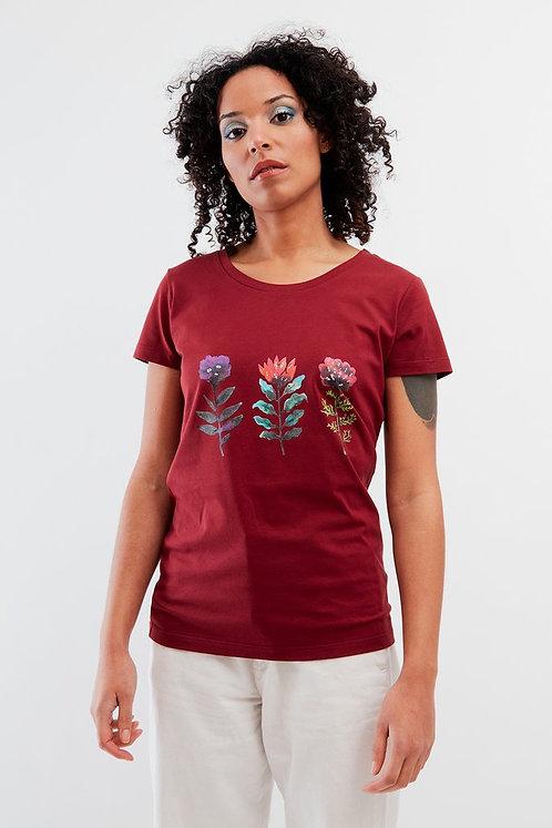 T-shirt - Bleu Tango - Bordeaux fleurs lucides