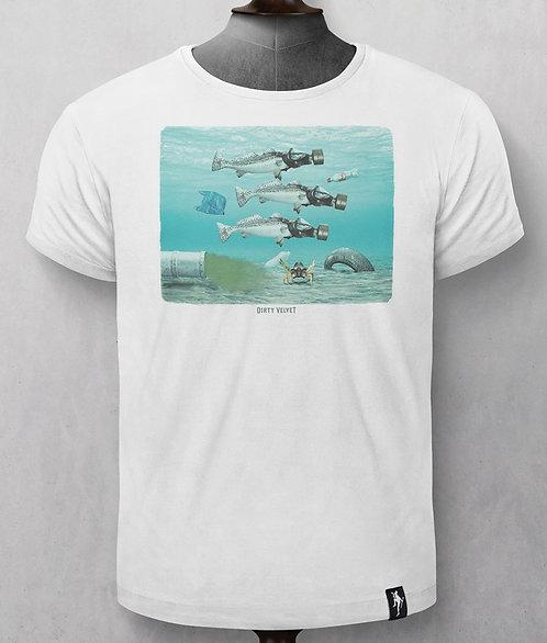 """T-shirt - Dirty Velvet -  Blanc """"Poissons"""""""