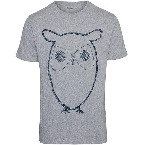 T-Shirt - Knowledge - Gris chiné imprimé hibou