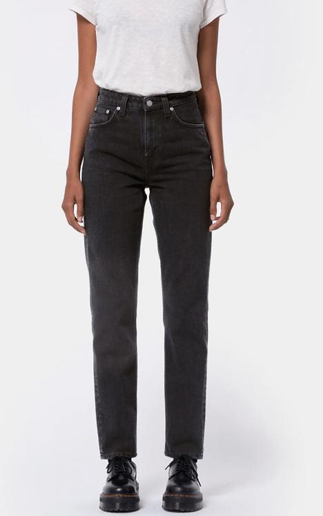 Jeans Mom - Nudie Jeans - Breezy Britt, Black Worn