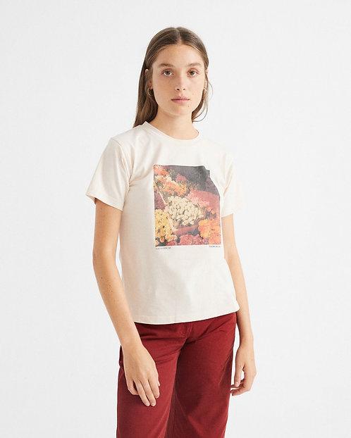 T-shirt - Thinking Mu - Blanc motifs fleurs