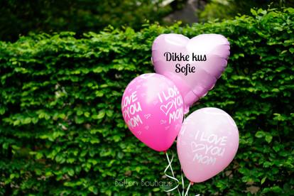 Helium boeket 3 ballonnen -  extra's: bedrukte ballonnen, folie hart solid, persoonlijke tekst