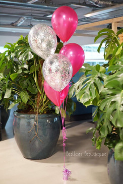 Helium boeket 5 ballonnen - extra's: confetti ballonnen