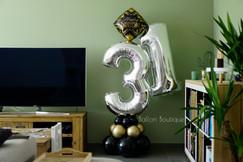 Zwart, goud en zilver - groot ballon boeket