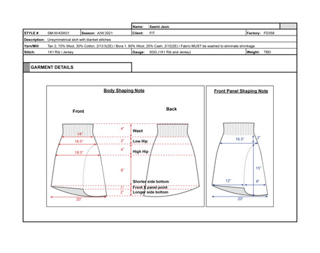 Tech Pack for Skirt