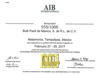 Bulk-Pack, Inc. scores 950/1000 on its 2017 AIB Inspection for Food Contact Package Manufacturing.