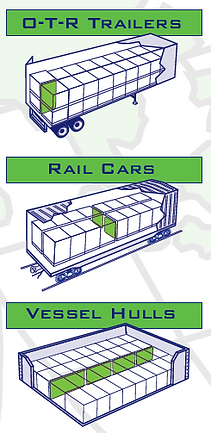 Dunnage Air Bags used in trucks, rail cars, and hulls