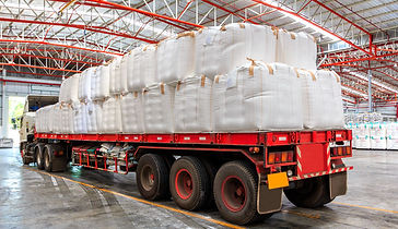 Baffle Bulk Bags (FIBC) on flat bed truck