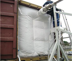 Barless baffle woven container liner