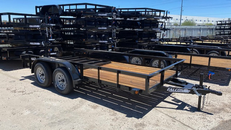 8x14 Falcon Tandem Axle Utility with Gate And Breaks