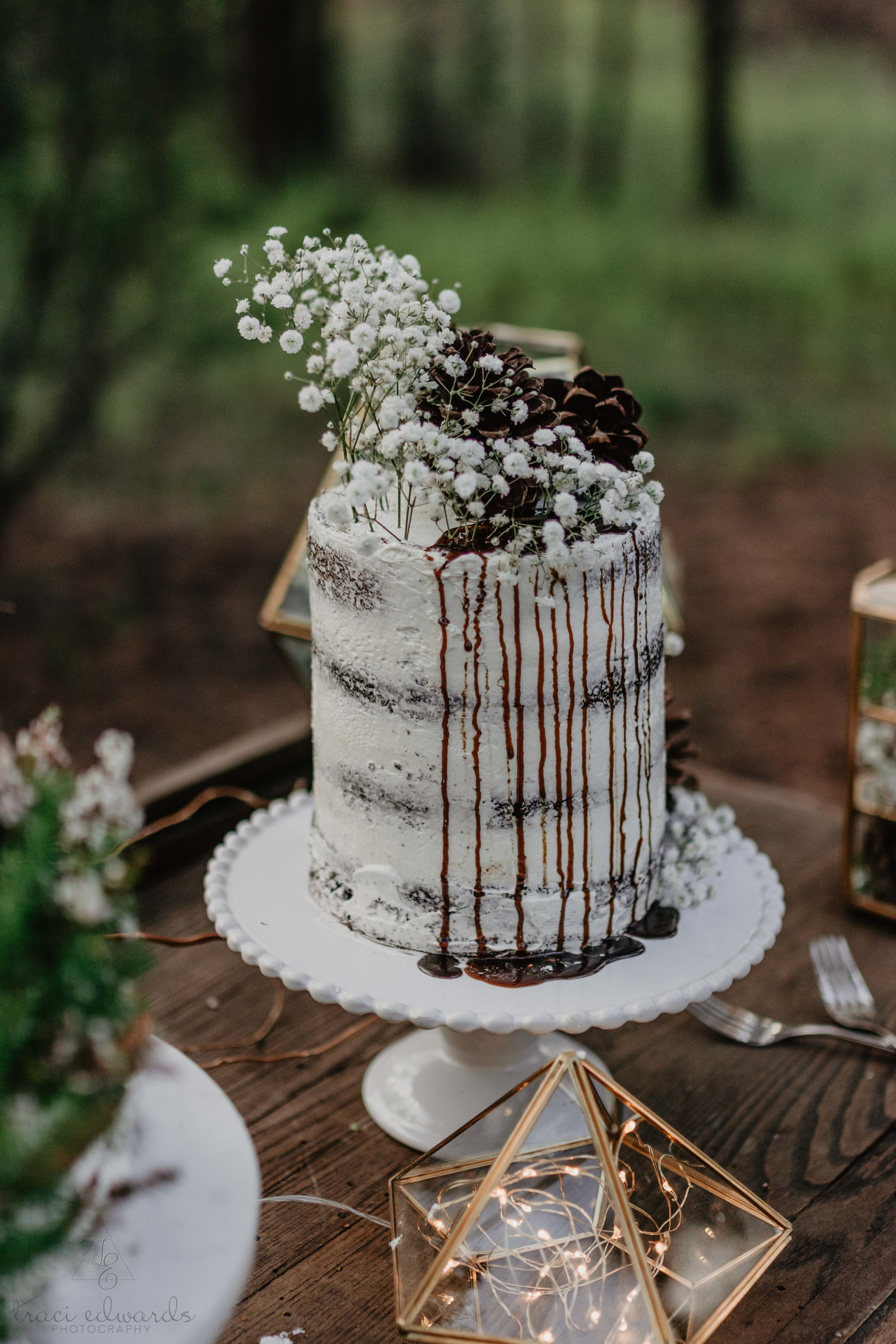 Semi Naked Rustic Drip Wedding Cake