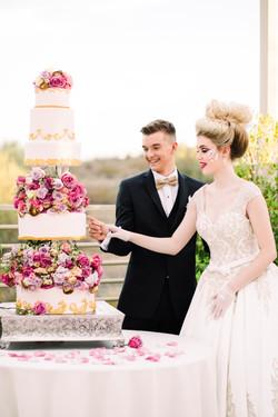 Floating Tier Rose Wedding Cake