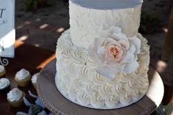 Rosette and Rose Cake