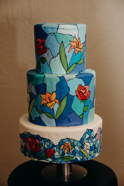 Stained glass tiered cake