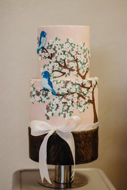 Cherry Blossom Tiered Fondant Cake