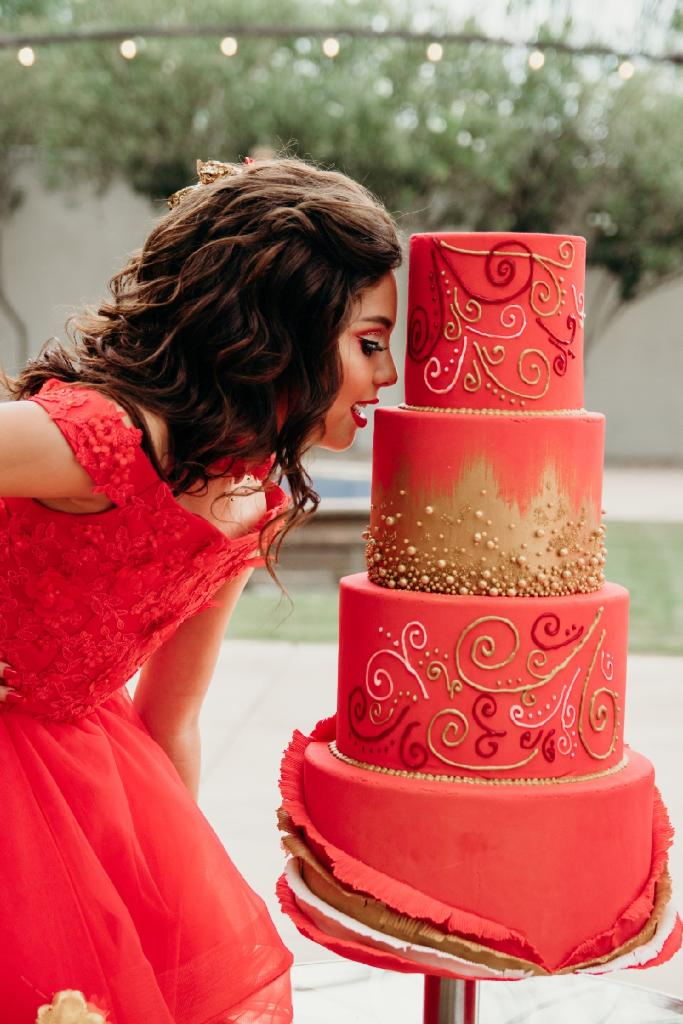 Red and Gold Quinceanera Cake