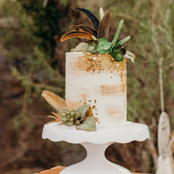Gold Leaf Succulent Feather Cake