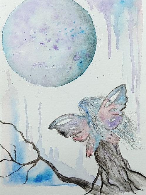 moon fairy original watercolor