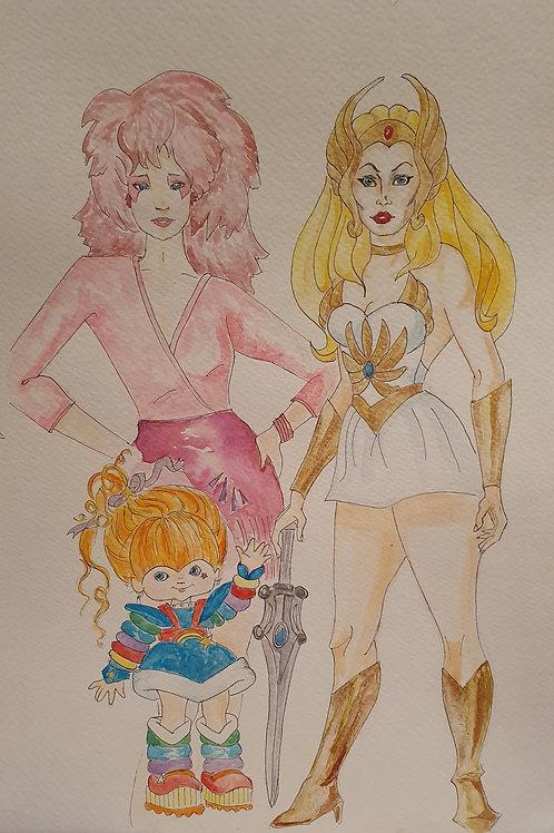 Jem, Shera & Rainbow Brite: Original Watercolor
