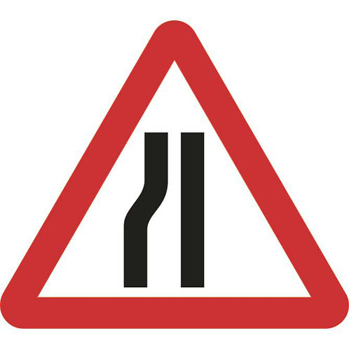 Road narrows left roll-up sign