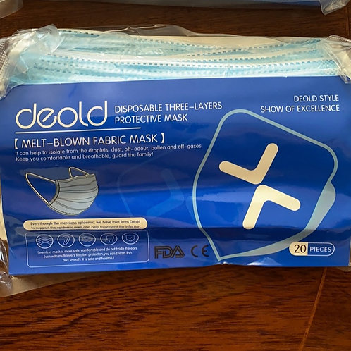 Deold Disposable 3-layers Protective Mask (20pcs per pack)