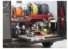 CCTV and Jetter hire van (rear view with rear doors open)