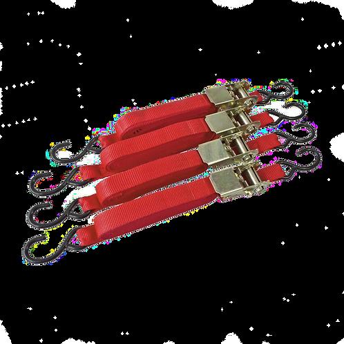 4pc 25mm x 4.5m Ratchet Tie-Down Set
