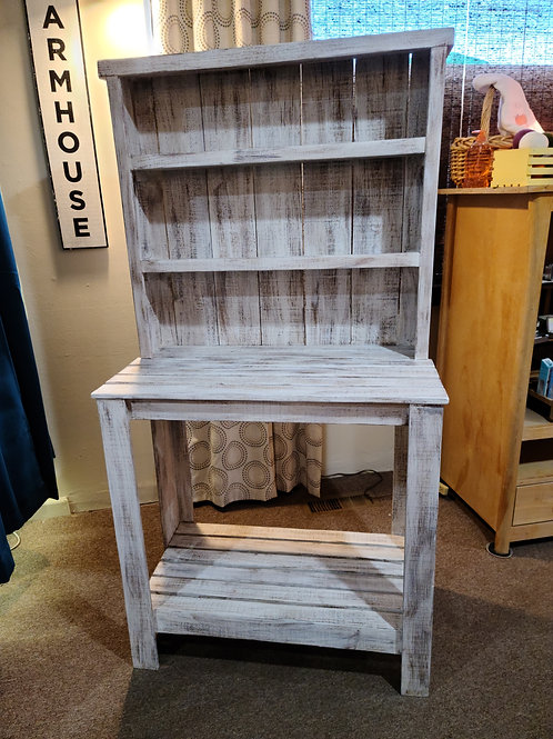 Handcrafted Wood Farm Style Hutch