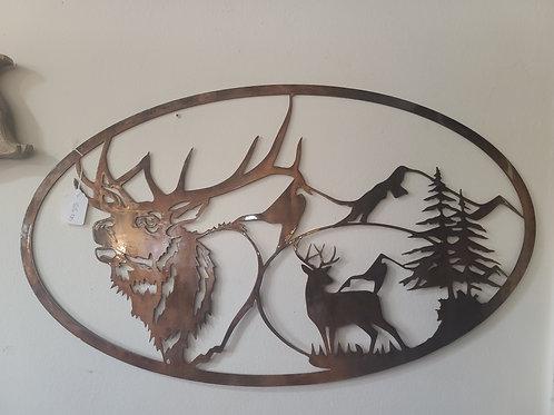 Deer and mountain metal work