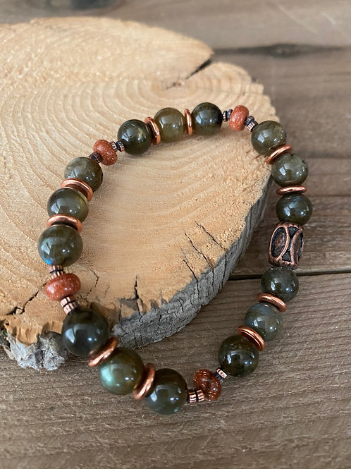 Copper and Stone Bracelet