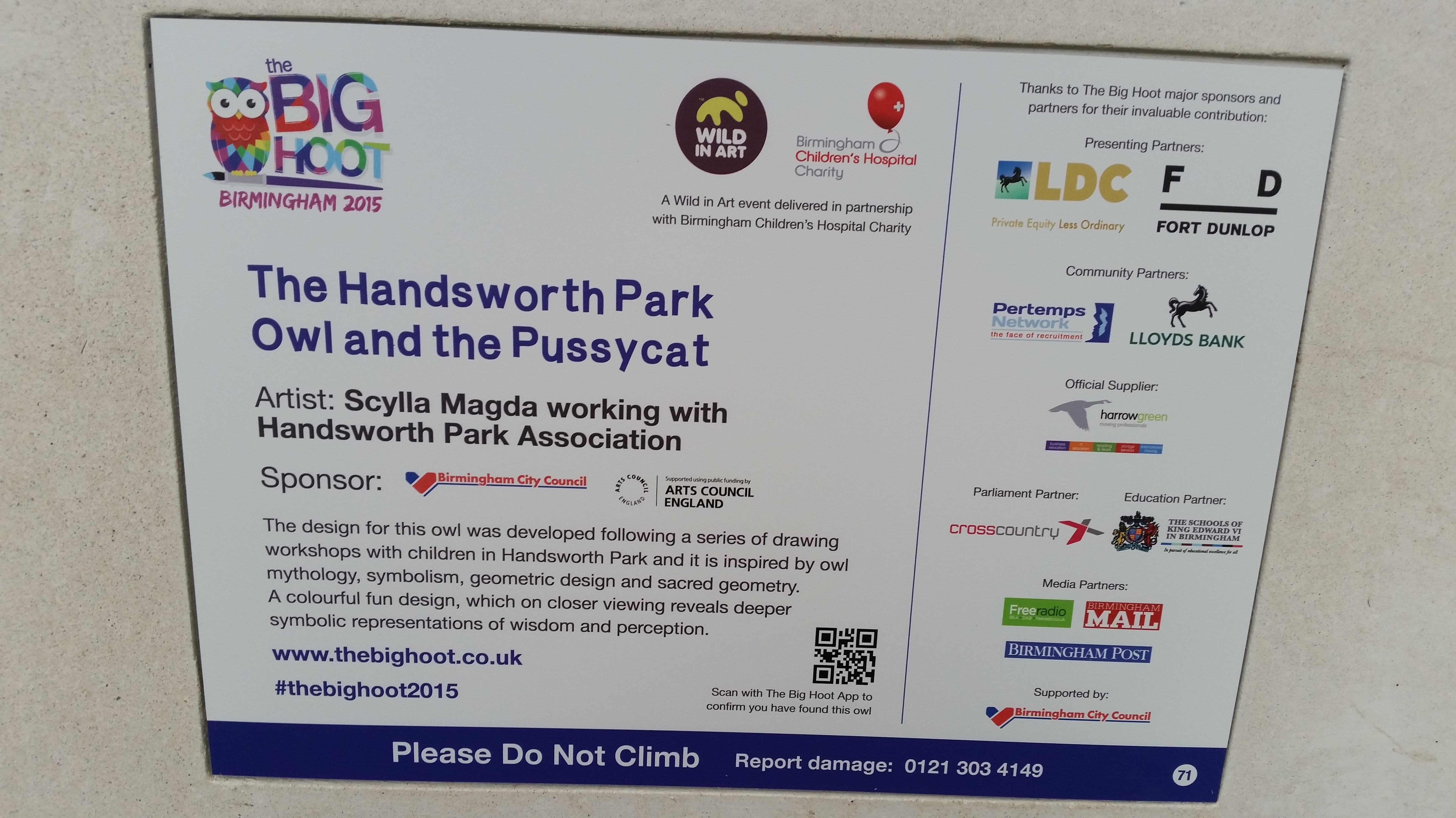 Sign from the Handsworth Park Owl