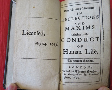 William Penn: Some Reflections n Solitude; 2nd Ed.; 1693