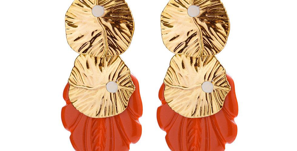 BRINCO FOLHA GOLD C/ CORAL