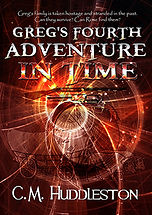 Book Title - Greg's Fourth Adventure In Time; Book Cover - Spirals of time travel with old-west covered wagon and rifles in the spirals