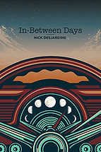 Book Title - In-Between Days; Book Cover - graphic of dashboard inside car and sky through the windshield