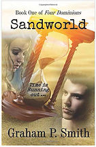 Book Title - Sandworld: Time is Running Out (Book One of Four Dimensions); Book Cover - Faces of a man and a woman and an hourglass with sand shifting from top to bottom